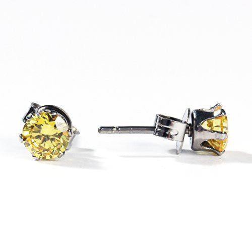 Sexy Sparkles Women's 6mm Stainless Steel Round Pale Yellow Cubic Zirconia Stud Earring Silver Plated