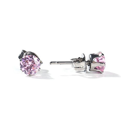 Sexy Sparkles Women's 6mm Stainless Steel Round Pink Cubic Zirconia Stud Earring Silver Plated
