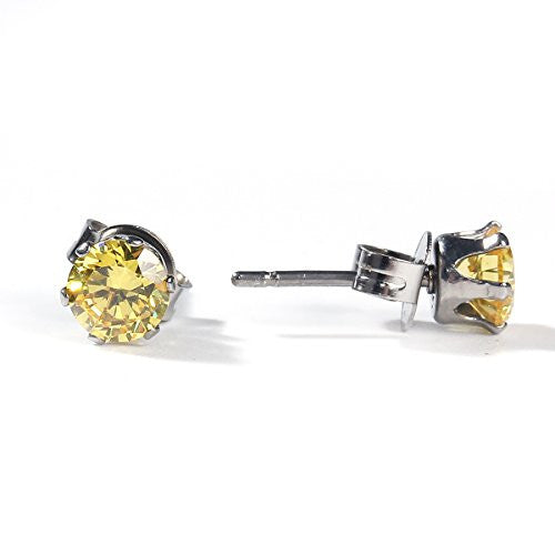 Sexy Sparkles Women's 6mm Stainless Steel Round Yellow Cubic Zirconia Stud Earring Silver Plated