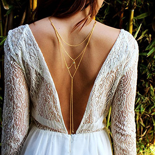 Sexy Sparkles Fashion Rhinestone the Sexy Back Wedding Necklace Body Chain Bikini Chain