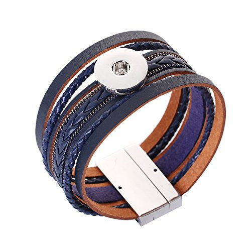 Sexy Sparkles Snap Button Jewelry Bangle Multilayer Bracelet fits 18mm/20mm Snap Buttons