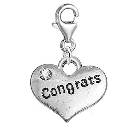 "SEXY SPARKLES ""Congrats "" Heart Charm W/Clear Rhinestones Graduation Clip on Lobster Claw Clasp Charm for Bracelet and Necklace"