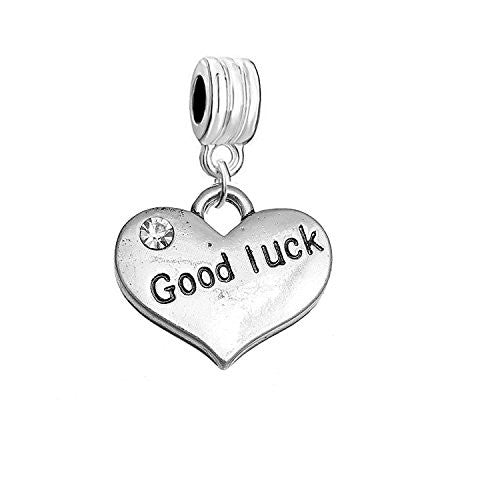 "Sexy Sparkles ""Good Luck"" Heart Charm W/Clear Rhinestones Dangling Spacer European Charm Bracelet and Necklace Compatible"