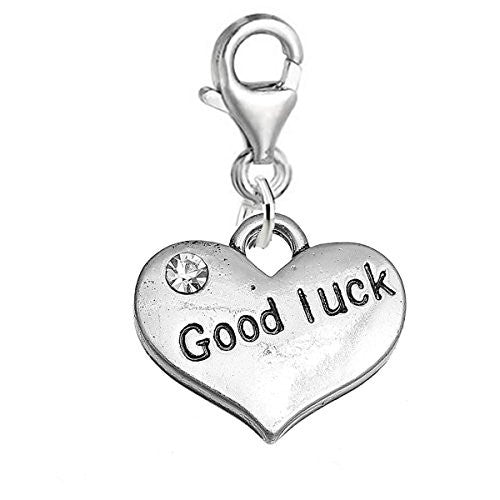 "Sexy Sparkles ""Good Luck "" Heart Charm W/Clear Rhinestones Clip on Lobster Claw Clasp Charm for Bracelet and Necklace"