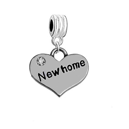 "Sexy Sparkles ""New Home "" Heart Charm W/Clear Rhinestones Dangling Spacer European Charm Bracelet and Necklace Compatible"