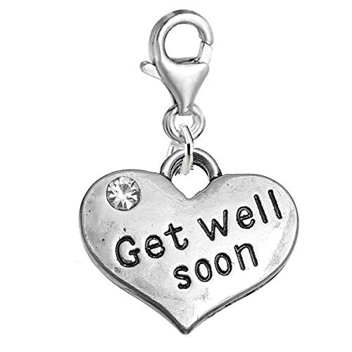 "Sexy Sparkles ""Get Well Soon"" Heart Charm W/Clear Rhinestones Clip on Lobster Claw Clasp Charm for Bracelet and Necklace"