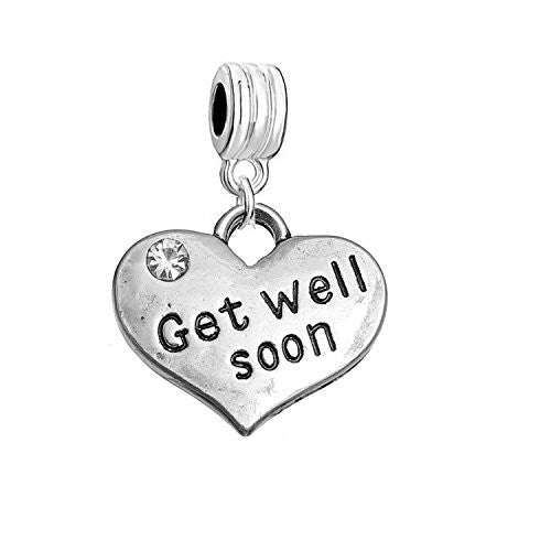 "Sexy Sparkles ""Get Well Soon"" Heart Charm W/Clear Rhinestones Dangling Spacer European Charm Bracelet and Necklace Compatible"