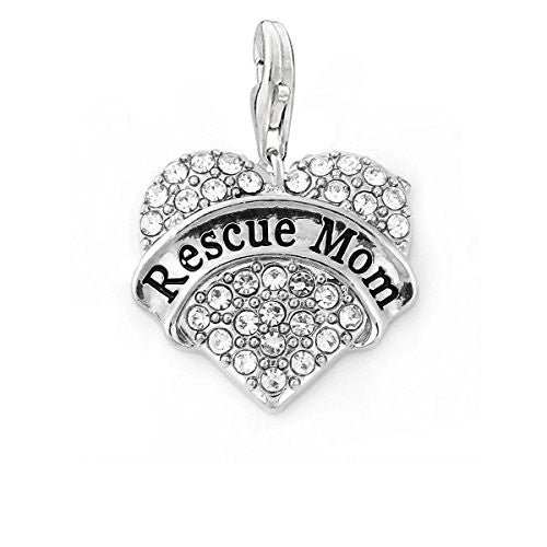 "SEXY SPARKLES ""Rescue Mom "" Heart Charm W/Clear Rhinestones Dog Lovers Clip on Lobster Claw Clasp Charm for Bracelet and Necklace"