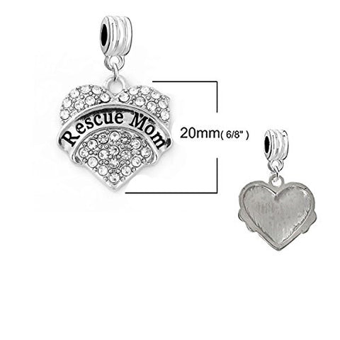 "SEXY SPARKLES ""Rescue Mom "" Heart Charm W/Clear Rhinestones Spacer European Charm for Bracelet and Necklace Compatible"