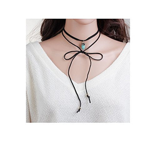 Sexy Sparkles Velvet Choker Necklace for Women Girls Gothic Choker Bolo Tie Chokers