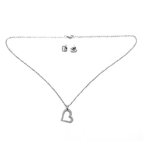 Sexy Sparkles Stainless Steel Heart Necklace and earring set for women