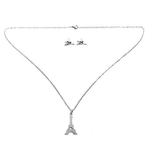 Sexy Sparkles Stainless Steel Eiffel Tower Necklace and earring set for women