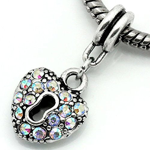 AB Crystals Heart Lock Dangle Charm Bead For Snake Chain Bracelets