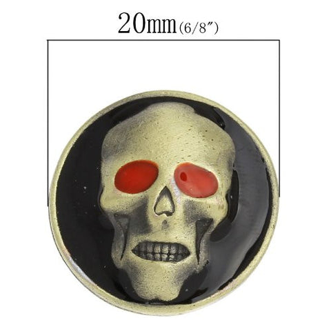 Chunk Snap Buttons Fit Chunk Bracelet Round Antique Bronze Enamel Red Halloween Skull Pattern - Sexy Sparkles Fashion Jewelry - 3