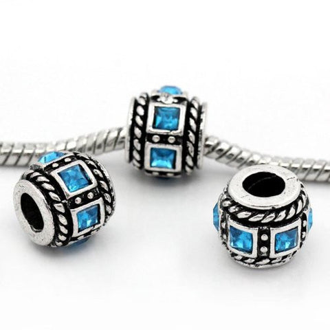 Aqua Squre Design Birthstone Charm Beads for Snake Chain Bracelets - Sexy Sparkles Fashion Jewelry - 3