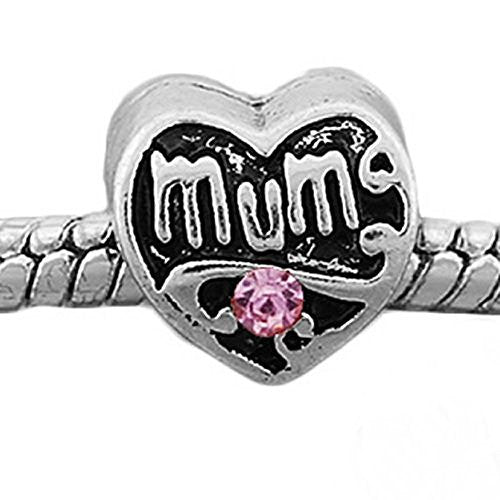 Mum Heart W/pink  Crystals European Bead Compatible for Most European Snake Chain Charm Bracelet