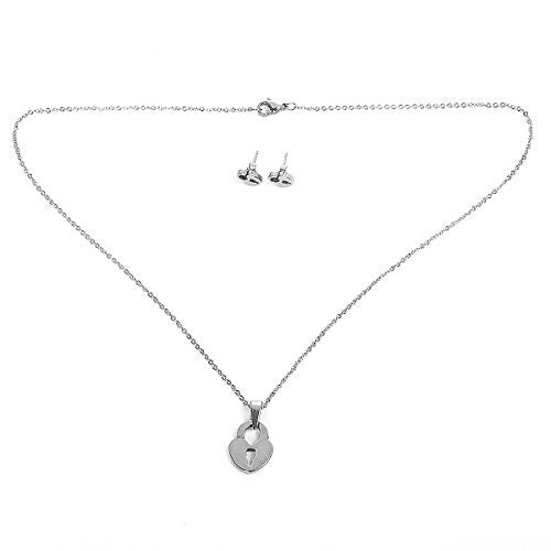Sexy Sparkles Stainless Steel Lock Necklace and earring set for women