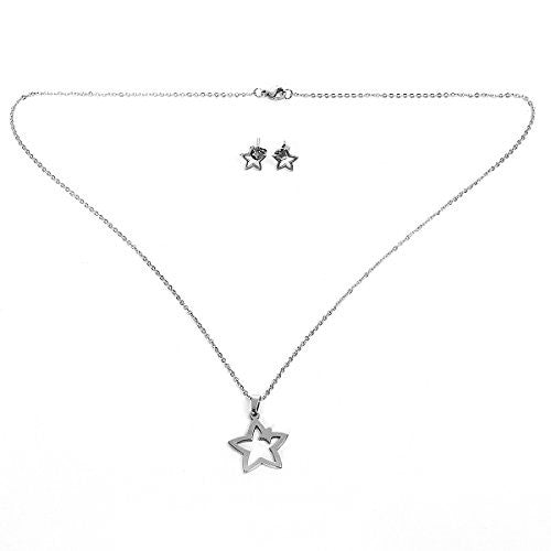Sexy Sparkles Stainless Steel Pentagram Star Silver Tone Necklace and earring set for women