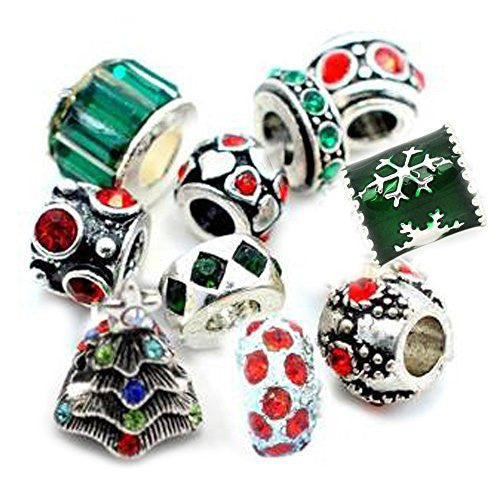 (10 Beads) of Christmas Charms Mix Red and Green s for Bracelets - Sexy Sparkles Fashion Jewelry