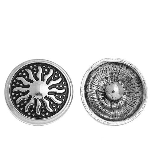 Chunk Snap Buttons Fit Chunk Bracelet Round Antique Silver Tone Sun Pattern Carved 20mm