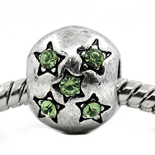 European Charm Beads Antique Silver Star Carved light Green Rhinestone