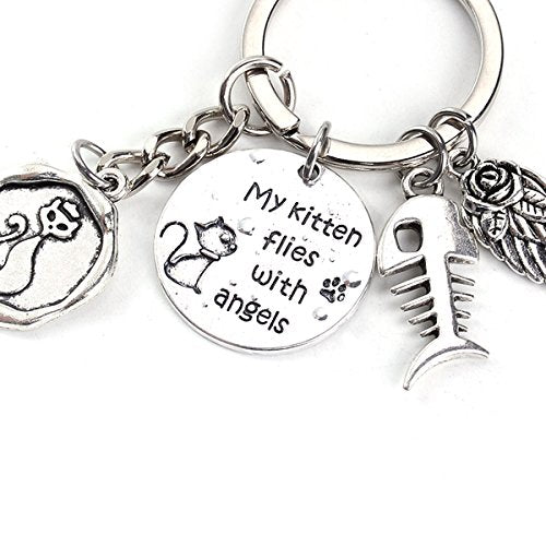 """My Kitten Flies with Angels"" Pet Memorial Keychain & Keyring Fish Bone (Style A)"