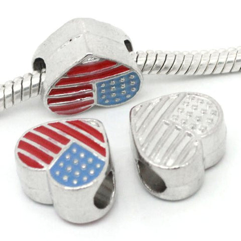 American Flag Heart Spacer Beads for Snake Chain Charm Bracelet - Sexy Sparkles Fashion Jewelry - 3
