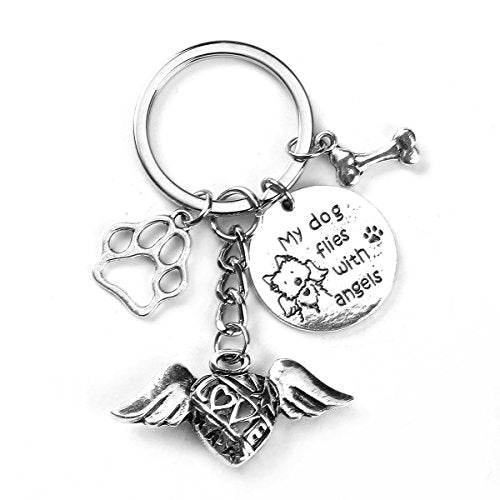 "Sexy Sparkles ""My Kitten Flies with Angels"" Pet Memorial Keychain & Keyring Fish Bone (Style B)"