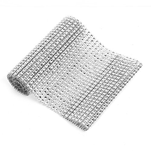 "Sexy Sparkles Sparkling Rhinestone Mesh Ribbon for Event Decorations, Wedding Cake, Birthdays, Baby Shower, Arts & Crafts 1 Yard 12cm (4 6/8""), (Silver)"