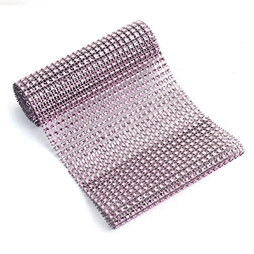 "Sexy Sparkles Sparkling Rhinestone Mesh Ribbon for Event Decorations, Wedding Cake, Birthdays, Baby Shower, Arts & Crafts 1 Yard 12cm (4 6/8""), (Pink/Grey)"