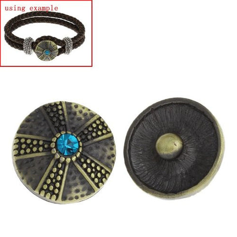 Chunk Snap Buttons Fit Chunk Bracelet Round Antique Bronze Flower Pattern Carved Lake Blue Rhinestone 20mm - Sexy Sparkles Fashion Jewelry - 2