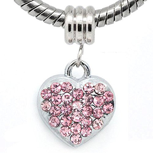Pink Rhinestone Heart Dangle European Bead Compatible for Most European Snake Chain Bracelets