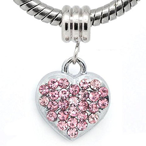Pink Rhinestone Heart Dangle European Bead Compatible for Most European Snake Chain Bracelets - Sexy Sparkles Fashion Jewelry - 1