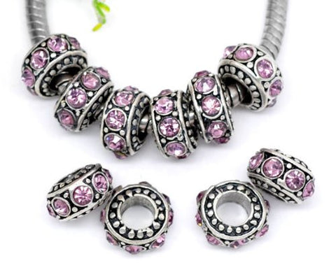 February Round Rhinestone charm for European Snake chain charm bracelet - Sexy Sparkles Fashion Jewelry - 2