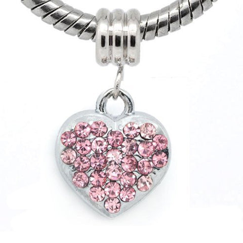 Pink Rhinestone Heart Dangle European Bead Compatible for Most European Snake Chain Bracelets - Sexy Sparkles Fashion Jewelry - 4