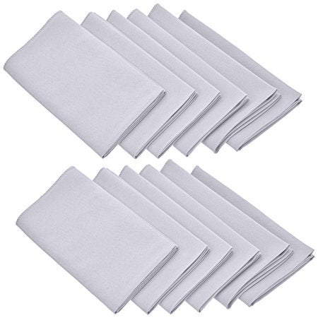 "Sexy Sparkles Oversized 17x17"" Solid Polyester White Napkins for Wedding Restaurant Dinner Use Machine Washable Durable Set of 12"