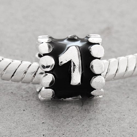 "Black Enamel Number Charm Bead  ""1"" European Bead Compatible for Most European Snake Chain Charm Bracelets - Sexy Sparkles Fashion Jewelry - 2"