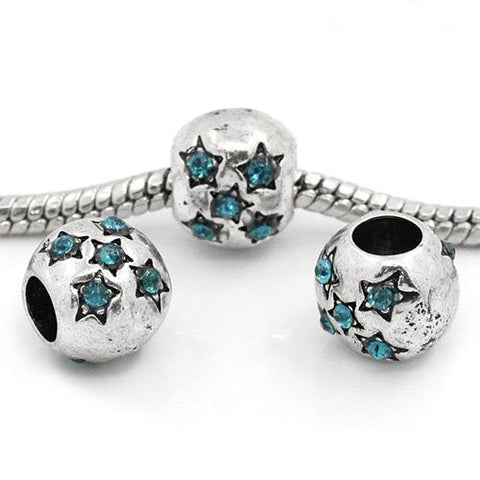 European Charm Beads Antique Silver Star Carved Light Blue Rhinestone - Sexy Sparkles Fashion Jewelry - 3