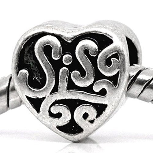 Sis or Sister Charm Spacer Beads For Snake Chain Charm Bracelet