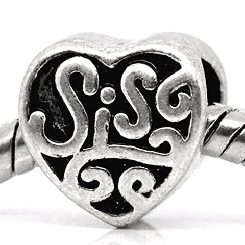Sis or Sister Charm Spacer Beads For Snake Chain Charm Bracelet - Sexy Sparkles Fashion Jewelry - 1