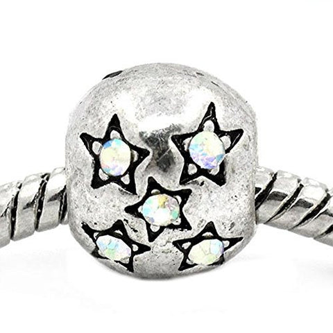 European Charm Beads Antique Silver Star Carved Ab Clear Rhinestone - Sexy Sparkles Fashion Jewelry - 1