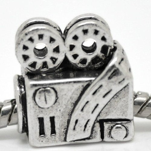 Movie Projector Charm European Bead Compatible for Most European Snake Chain Bracelet