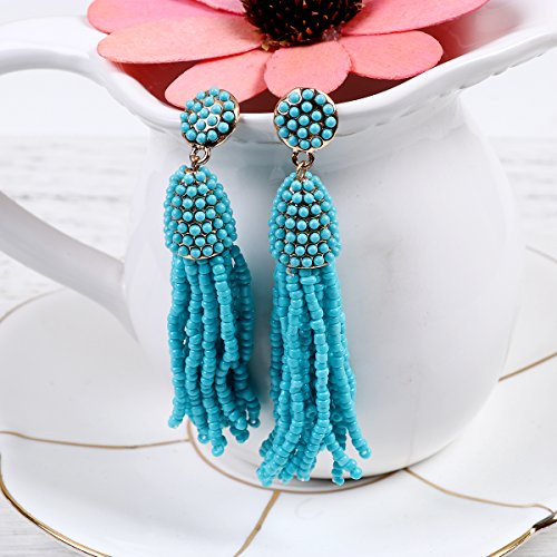 Sexy Sparkles Women's Beaded tassel earrings Long Fringe Drop Earrings Dangle
