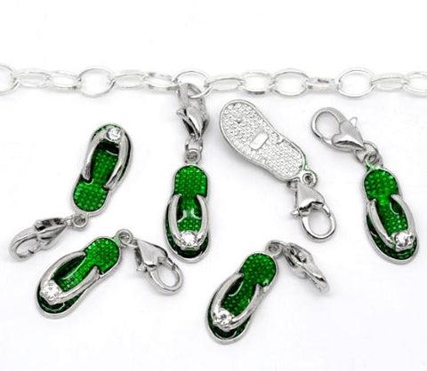 Clip on Green Flip Flop Shoe Pendant for European Jewelry w/ Lobster Clasp - Sexy Sparkles Fashion Jewelry - 3