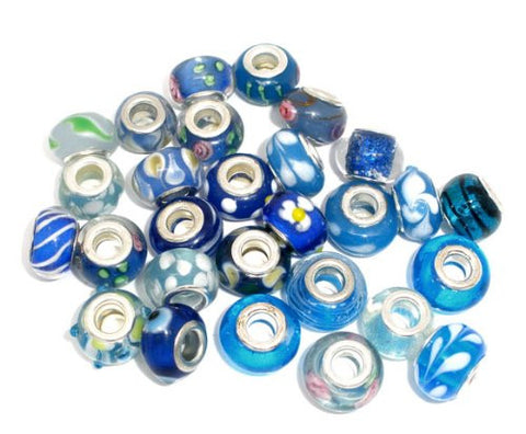 Ten (10) Pack of Assorted Blue Glass Lampwork, Murano Glass Beads for European Style Bracelet - Sexy Sparkles Fashion Jewelry - 1