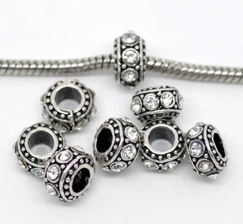 April Birthstone Antique Silver Rhinestone Spacer Beads Fit European Bracelet - Sexy Sparkles Fashion Jewelry - 3