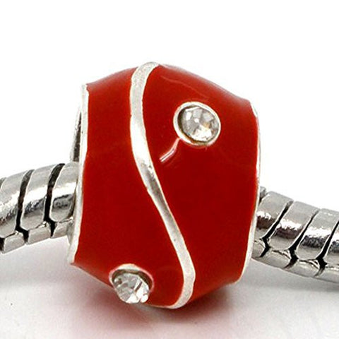 Red Rhinestone Enamel Silver Tone Bead Charm Spacer for Snake Chain Bracelets - Sexy Sparkles Fashion Jewelry - 1