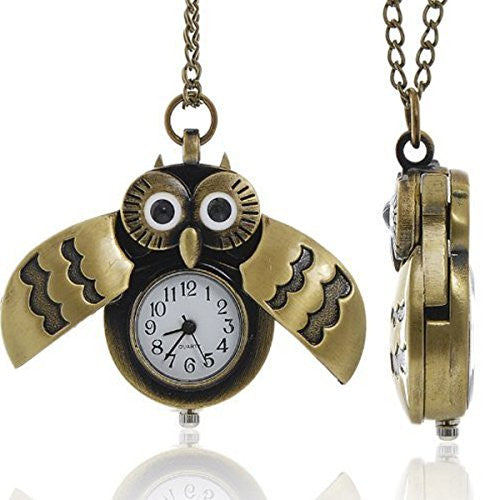 Bronze Owl Pocket Watch with Chain Necklace Wings Open and Close Battery Included