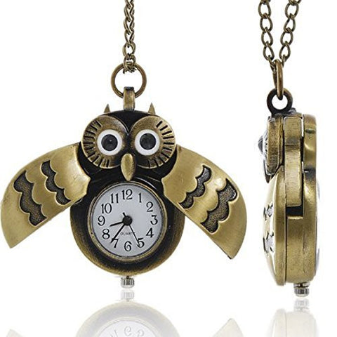 Bronze Owl Pocket Watch with Chain Necklace Wings Open and Close Battery Included - Sexy Sparkles Fashion Jewelry - 1