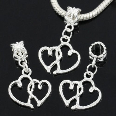 Hearts Charm Dangle Bead Spacer for Snake Chain Charm Bracelet - Sexy Sparkles Fashion Jewelry - 2